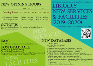 New Services and Facilities 2019-2020