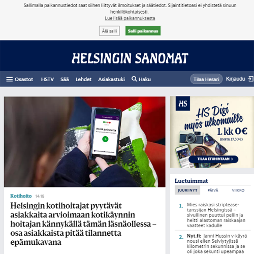 Helsingin Sanomat International (in Finnish and English)